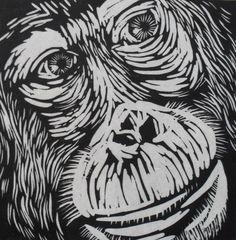 Orangutan Linocut on Japanese Kozuke paper (44gsm white) by Rowanne Anderson http://www.rowanneanderson.com/ Tags: Linocut, Cut, Print, Linoleum, Lino, Carving, Block, Woodcut, Helen Elstone, Animals