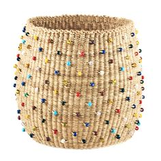 Beaded Beachcomber Basket in Natural by Swahili Modern
