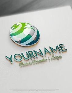 Design Free Online 3D Globe Logo Template Ready made Online 3D Logo Templates Decorated with an image of globe Earth. This professional 3D logos excellent for consulting, Global International company, High Tech, Travel agency, airline company,Natural products, eco-friendly, management etc, . How to design free logo online? 1- Customize This logo with our free logo maker tool - Change you company name, slogan, colors