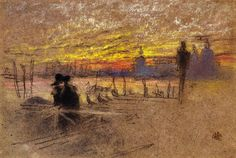 Sunset: Red and Gold - The Gondolier James Abbott McNeill Whistler - 1880
