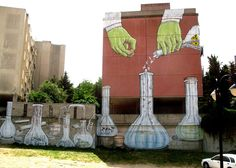 Yesterday we posted of Blu's mural in Madrid, today another in Sardinia, Italy. This site-specific mural speaks directly on the island of Sardinia, th. Murals Street Art, Street Art Graffiti, Graffiti Wall, Wall Murals, Italian Street, Best Street Art, Chernobyl, Weird Pictures, Chalk Art