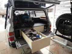 Land Cruiser cargo area showing drawer system with platform. Gerald Trainor photo.