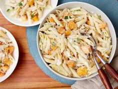 Giada pours penne directly over goat cheese to turn the tangy cheese into a cream sauce when she makes Penne with Butternut Squash and Goat Cheese.