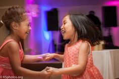 Children dancing at wedding reception. Photogs don't be afraid to lower the shudder speed while hand-holding camera to show motion in your photo! :)