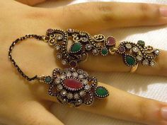 Ruby /Emerald Long double finger Statement Ring,Knuckle index finger chain ring