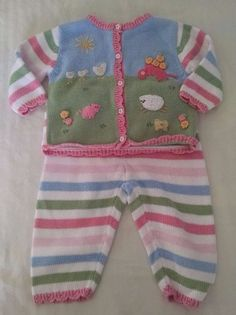 Hartstrings Baby Outfit Sweater Pants 18M Easter Pastel Striped Farm Animals #Hartstrings #EasterDressyEveryday