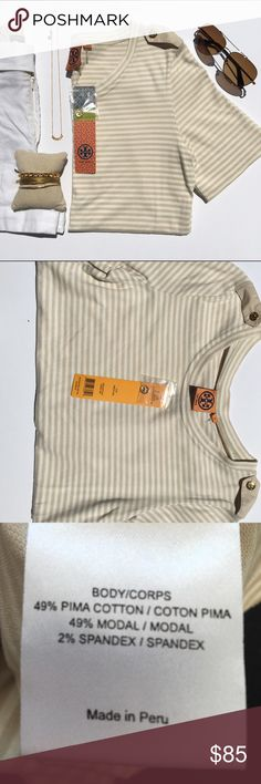 Tory Burch Corah Tee in Oyster Stripe Gorgeous and soft. BNWT. Gold buttons on shoulder straps. Cream and khaki stripe. The Chic Shed; A Current and Classic Fashion Curation.  10% OFF BUNDLES I ❤️ THE OFFER BUTTON ❌NO PP, TRADES, HOLDS❌  15% OFF RETURN BUYER BUNDLES Tory Burch Tops Tees - Short Sleeve