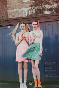 Ballad magazine featured the Pique full Woven Skirt in Summer Peach and Mossy Green by #AmericanApparel