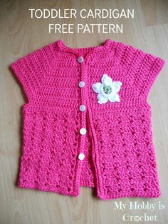 My Hobby Is Crochet: Little Girl's Cardigan with Short Sleeves - The cardigan it is worked in 1 piece, top down, beginning with the yoke, then separating the sleeves, you'll form the right front side, right sleeve, back, left sleeve & left front side. Size:  18 Months +