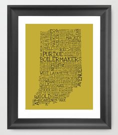 PURDUE UNIVERSITY  Lafayette IN Typography 11 X 14 by EndyThings, $15.00