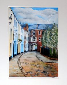 Giclee Print- Hull- A4 Quality Mounted Giclee Print of Prince Street, Hull- by Artist Suzie Nichols (art, painting, uk) - pinned by pin4etsy.com