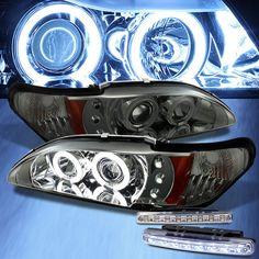 For LED Bumper Fog+Smoked CCFL Halo 94-98 Mustang Pro Headlights Head Lights Mustang Accessories, Halo, Smoke, Lights, Led, Ebay, Ideas, Corona, Lighting