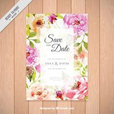 Convite com as flores bonitas da aguarela