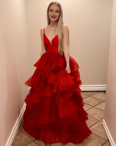 Beautiful A Line V Neck Red Long Prom/Evening Dress with Ruffles de quinceanera Red Long Prom/Evening Dress Red Wedding Dresses, Cute Prom Dresses, Prom Dresses With Sleeves, Beautiful Prom Dresses, Short Red Prom Dresses, Red Ball Gowns, Ball Gowns Prom, Ball Dresses, Formal Evening Dresses