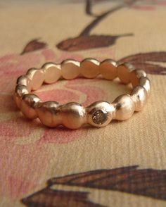 14k Rose Gold Beaded Ring with Diamond