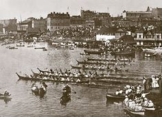 This is a black and white photograph of First Nations canoes and paddlers at Victoria Day races in Victoria's Inner Harbour Victoria City, Victoria Vancouver Island, Medieval, Victoria British Columbia, First Nations, Historical Photos, Pacific Northwest, West Coast, Paris Skyline