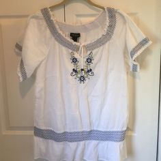 NWT LANE BRYANT WHITE TOP Brand new with tags. Has elastic banded waist. Very cute on. Lane Bryant Tops Blouses