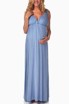 Light-Blue-Lace-Back-Maternity/Nursing-Maxi-Dress #maternity #fashion