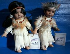 Rare DUCK HOUSE Realistic Native American Porcelain Heirloom DOLLS Matching Pair