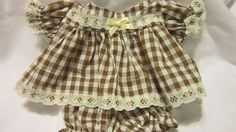 """Brown Gingham 1/4"""" check Dress set fits 12-14"""" Cabbage Patch #KindredHeartsDesigns"""