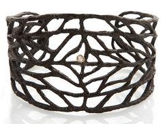 Anna Ruth Henriques - Anna Ruth Henriques Sterling SIlver 18K Gold Diamond Vine Cuff Bracelet