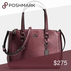 """• cherry metallic • pebble leather • carry all • COACH STANTON PEBBLE LEATHER CARRYALL New with tags StyleSatchel/Shoulder Bag/Crossbody Bag Length 9.75"""" Material Leather Coach Bags"""