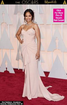 Zoe Saldana blew everyone away when she walked the red carpet at the Oscars 2015 on Sunday, Feb. wearing a form-fitting custom Atelier Versace with dazzling Neil Lane jewels just three months after giving birth to her twin boys, Bowie and Cy. Celebrity Red Carpet, Celebrity Dresses, Celebrity Style, Zoe Saldana, Reese Witherspoon, The Dress, Pink Dress, Vestidos Oscar, Vestido Strapless