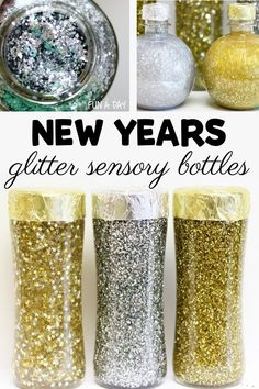 Sparkly silver and gold sensory bottles are perfect for a New Years Celebration! These diy sensory bottles are great for toddlers or preschool, and older kids will love them too! Add them to a Noon Years Activity for some festive sensory fun! Sensory Bins, Sensory Activities, Infant Activities, Sensory Play, Sensory Table, New Years Activities, Activities For Kids, Activity Ideas, New Year's Crafts