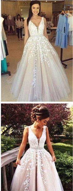 A-line V Neck Long Sexy Prom Dress,Ball Gowns Wedding Dresses,PD455883 #promdress #fashion #shopping #dresses #eveningdresses #2018prom