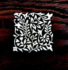 Hand Carved Rectangle Wood Stamp Leaf Paisley by PrintBlockStamps, $19.95