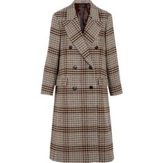 Isabel MarantFlint Double-breasted Plaid Wool Coat (€1.540) ❤ liked on Polyvore featuring outerwear, coats, beige, double breasted woolen coat, brown coat, double-breasted wool coat, wool coat and isabel marant
