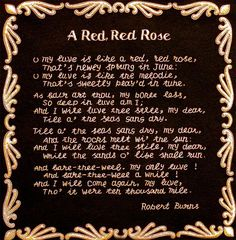 Embroidered Robert Burns poem.