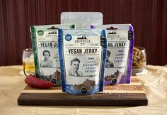 Louisville Vegan Jerky 4-Pack - Dairy and Egg Free - contains Soy