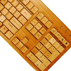 Impecca USA USB Wired Hand Carved Designer Bamboo Keyboard Natural Color