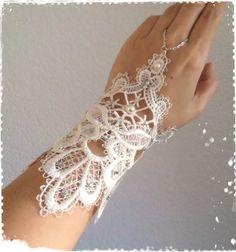 "1920s Art Deco Great Gatsby Inspired Ivory Venice Lace Cuff Bracelet-Victorian,Bohemian Wedding Fingerless Glove,Wrist Corset-""VICTORIA"""