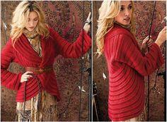 crochet red circle jacket