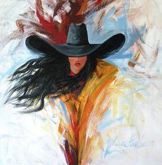 Brushstroke Cowgirl Painting  - Brushstroke Cowgirl Fine Art Print