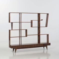 Paolo Buffa Attributed; Exotic Woods Bookshelf, c1950.