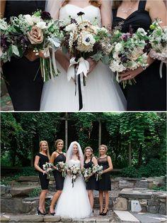 "black bridesmaid dresses - mismatched. Also with ""wildflower"" arrangements"