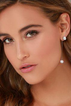 Studly Silver Rhinestone Earrings at Lulus.com!