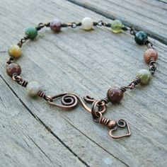 Fancy+Jasper+Stone+Beads+and+Antiqued+Copper+by+BearRunOriginals,+$20.00