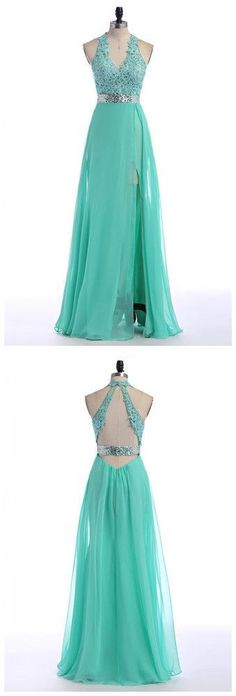 V-Neck Lace Prom Dress with Open Back,Halter Prom Dresses,Long Evening Dress,42023