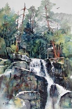 Lian Quan Zhen-reminiscent of Kobota gardens plein aire painting. Art Aquarelle, Watercolor Trees, Watercolor Artists, Watercolor Techniques, Watercolor Landscape, Landscape Art, Landscape Paintings, Watercolor Paintings, Watercolours