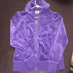 Purple Juicy Tracksuit Jacket w/ Heart Embroidery Purple Juicy Tracksuit Jacket w/ Heart Embroidery. Great condition and very comfortable! Size L fitted. Juicy Couture Tops Sweatshirts & Hoodies