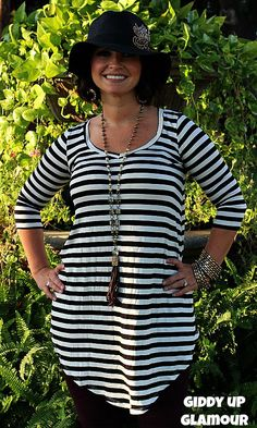 Too Chic To Quit Black and White Stripe Tunic Dress www.gugonline.com