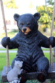 Swinging Black Bear With Buddy Squirrel Outdoor Garden Sculpture Figurine  | eBay