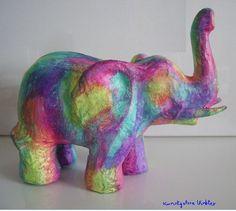 Elefant Skulptur abstrakt bemalt Acrylmalerei Neu  von Kunstgalerie Winkler auf DaWanda.com