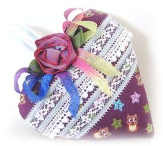 Sachet Heart PURPLE with OWLS Fabric with ♥ by CharlotteStyle, $12.50