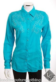 WRANGLER COLLAR LONG SLEEVE WESTERN STYLE BEDAZZLED SNAPS TURQUOISE BLOUSE SZ S