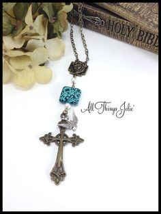Proudly made in Louisiana, Mother's Day Dove & Cross Necklace by AllThingsJolie78 on Etsy